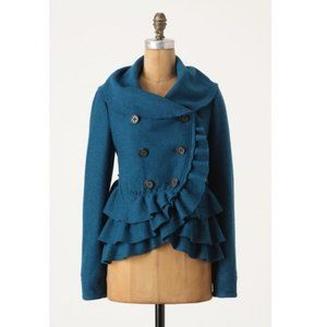 Anthro Elevenses Teal Frilled Echelons Peacoat